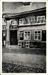Postcard Quedlinburg im Harz, Partie am Eingang des Finkenherdes