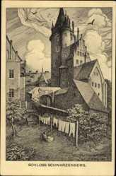 Künstler Ak Freitag, F., Schwarzenberg im Erzgebirge Sachsen, Das Schloss