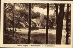 Postcard Binz auf Rügen, Blick durch die Bäume auf das Hotel Granitz, Kurt Faerber