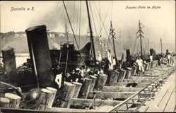 Postcard Sassnitz auf der Insel Rügen, Torpedo Flotte im Hafen, Seemänner