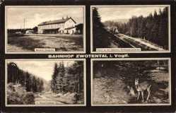 Postcard Zwotental Schöneck im Vogtland Sachsen, Bahnhof, Lokomotive