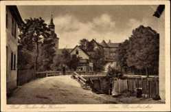 Postcard Bad Berka im Weimarer Land, Ortschaft mit Klosterbrücke