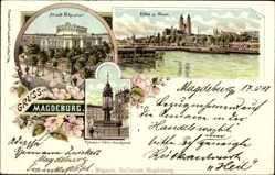 Litho Magdeburg in Sachsen Anhalt, Stadttheater, Kaiser Otto Denkmal