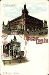 Litho Erfurt in Thüringen, Blick auf das Post Gebäude und Rathaus