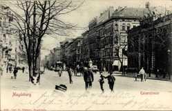 Postcard Magdeburg in Sachsen Anhalt, Blick in die belebte Kaiserstraße