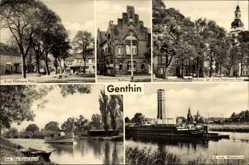 Postcard Genthin am Elbe Havel Kanal, Ernst Thälmann Platz, Rathaus, Kanal, Wasserturm