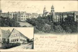 Postcard Neuenstein im Hohenlohekreis, Stadtpanorama, Glockenturm, Gasthaus Ernst Lutz