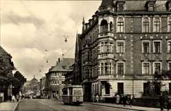 Postcard Nordhausen Thüringen, Karl Marx Straße, Brücke des Friedens, Straßenbahn