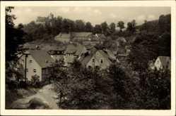 Postcard Scharfenstein Drebach im Erzgebirge Sachsen, Teilansicht mit Schloss