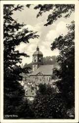 Postcard Lößnitz Erzgebirge, Blick auf St Johanniskirche, geweiht 1826
