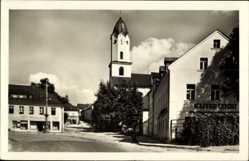 Postcard Bad Brambach im Vogtland, Straßenpartie mit Blick zur Kirche, Kaffee Leicht
