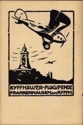 Künstler Ak Frankenhausen, Kyffhäuser Flugspende, MIlitärflieger, Denkmal