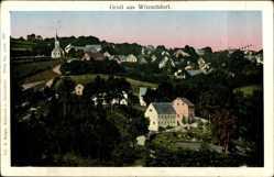 Leuchtfenster Ak Witzschdorf Gornau, Blick auf den Ort, Kirche, Felder