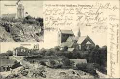 Ak Petersberg Saalekreis, Wehdes Gasthaus, Klosterruine, Bismarckturm