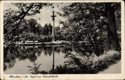 Postcard Glauchau an der Zwickauer Mulde, Idyll am Gründelteich, Säule
