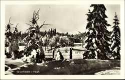 Postcard Grünheide Auerbach im Vogtland, Blick auf den verschneiten Ort
