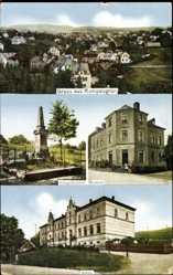 Postcard Rempesgrün Auerbach im Vogtland, Kriegerdenkmal, Bäckerei, Schule