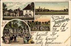 Litho Bernburg an der Saale, Parforcehaus, Otto Loewke, Schloss, Reitbahn