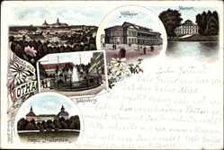 Litho Gotha im Thüringer Becken, Hoftheater, Museum, Schlossberg, Schloss