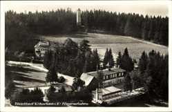 Postcard Auerbach Vogtland, Fliegeraufnahme vom Zöbischhaus, Aussichtsturm