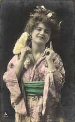 Ak Frau in Asiatischer Kleidung, Kimono, PH 957 3