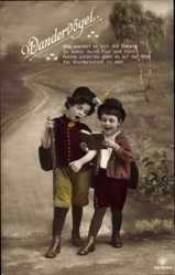 Ak Wandervögel, Kinder als Wanderer, Liederbuch, RPH 5619 20