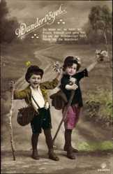 Ak Wandervögel, Kinder als Wanderer, Wanderstöcke, RPH 5619 20