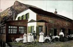 Ak Ramsau Oberbayern, Müncherhaus am Watzmann, Anwohner in Tracht