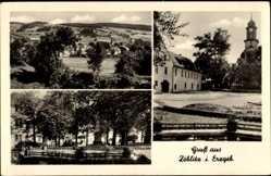 Postcard Zöblitz Marienberg im Erzgebirge Sachsen, Denkmal, Kirche, Totalansicht