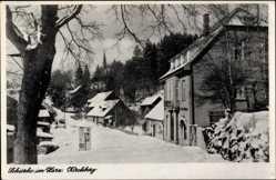 Ak Schierke Wernigerode am Harz, Ortschaft im Winter, Kirchberg