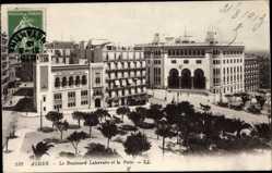 Postcard Algier Alger Algerien, Le Boulevard Laferriére et la Poste