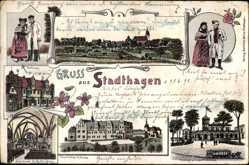 Litho Stadthagen im Kreis Schaumburg, Schloss, Pferdebahn, Tracht, Kirche