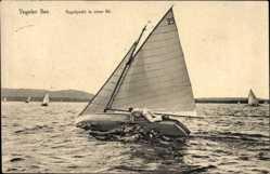 Ak Berlin Reinickendorf Tegel, Tegeler See, Segelyacht in einer Bö