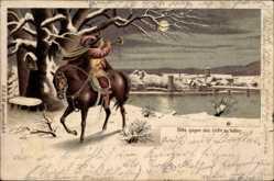 Halt gegen das Licht Litho Trompeter von Säckingen, Winteridyll, Fluss bei Nacht