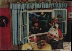 3 D Ak Puppen, Junge beim Fensterln, Mondschein, Gardinen