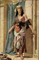 Künstler Ak Vita, W., Hüterin des Geheimnisses, Ägypterin mit entblößter Brust