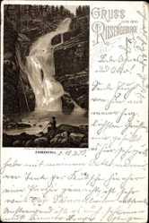 Vorläufer Litho Szklarska Poręba Schreiberhau Schlesien, Zackenfall, 1892