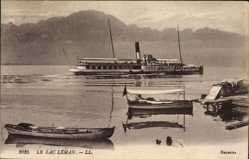 Ak Kt. Genf Schweiz, Lac Leman, Salondampfer Evian, Boote, Gebirge