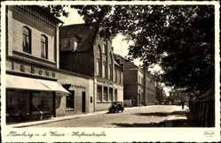 Ak Nienburg an der Weser, Hafenstraße. Volksbank, Geschäfte, Auto