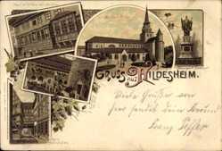 Litho Hildesheim in Niedersachsen, Michaeliskirche, Haus mit Bildern, Denkmal