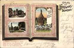 Bücher Lithographie Detmold in Nordrhein Westfalen, Hermannsdenkmal,Externsteine