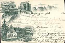 Litho Preußisch Oldendorf, Blick auf Forsthaus Limberg, Fachwerkhaus