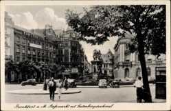 Postcard Frankfurt am Main, Rossmarkt mit Gutenbergdenkmal, Kunstausstellung