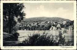 Postcard Waldshut Tiengen am Hochrhein Baden Wüttemberg, Flusspartie mit Ortschaft