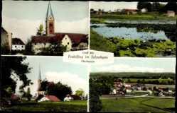 Postcard Fridolfing im Salzachgau Oberbayern, Blick auf den Ort, Kirche, Gewässer