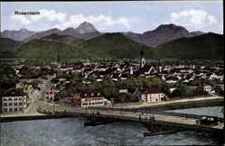 Postcard Rosenheim im Alpenvorland Oberbayern, Blick auf den Ort, Brücke