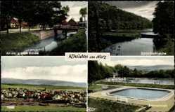 Postcard Rhüden Seesen Niedersachsen, An der großen Brücke, Badeanstalt, Teiche