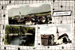 Postcard Halfing in Oberbayern, Totalansicht, Kirche, See