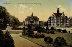 Postcard Minden in Ostwestfalen Lippe, Kurfürstendenkmal mit Regierung