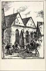 Künstler Ak Blomberg im Kreis Lippe, Ansicht der Kirche